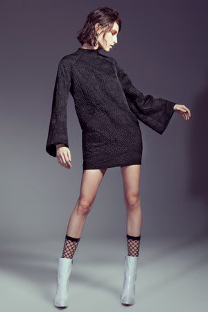 Black Graphic Cloqué Mini Dress with Bell Sleeves