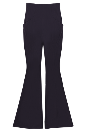 Black High Waisted Bell Leg Pant Flat