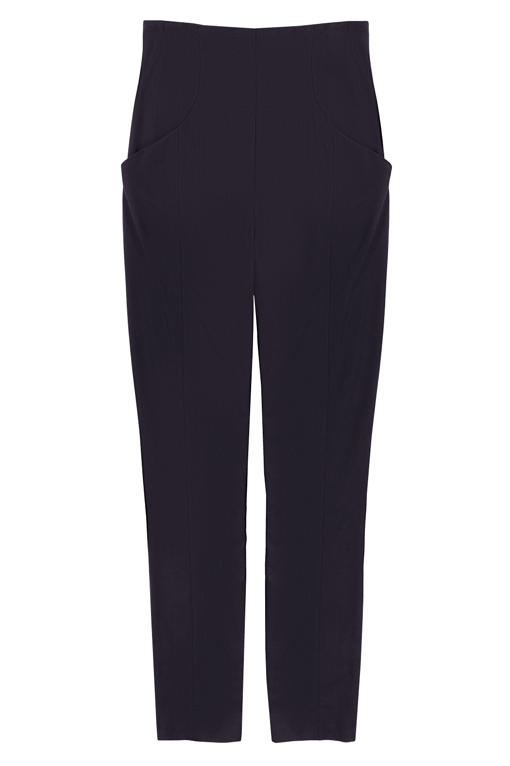 Black High Waisted Slim Tapered Pant Flat