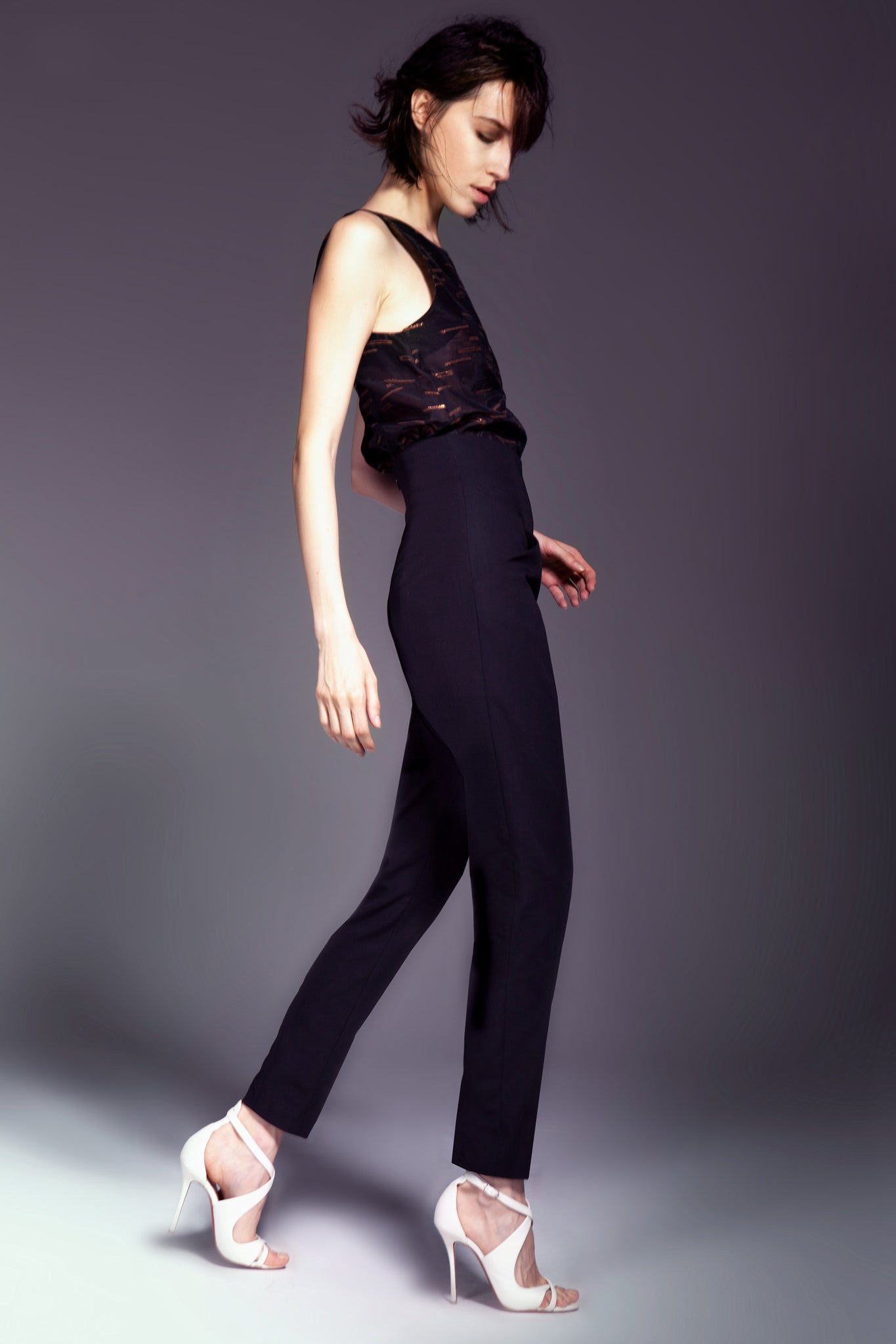 Black High Waisted Slim Tapered Pant