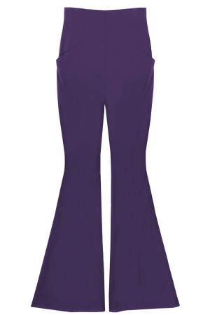 Plum High Waisted Bell Leg Pant Flat