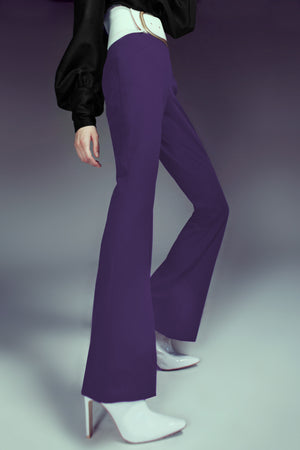 Plum High Waisted Bell Leg Pant