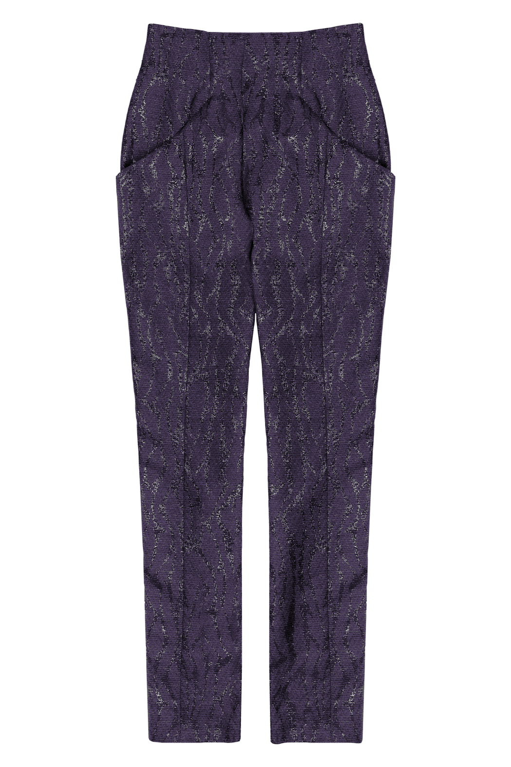 Plum Graphic Wave High Waisted Tapered Leg Pant Flat