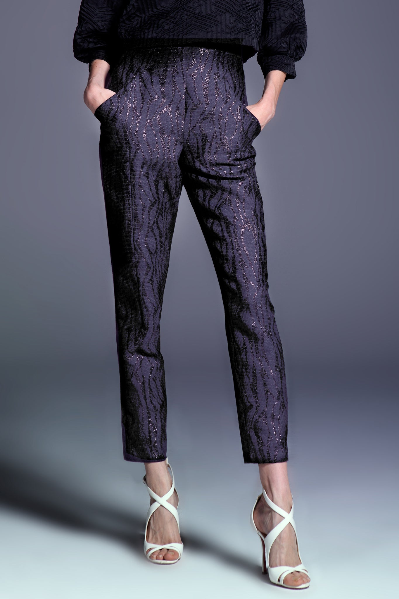 Plum Graphic Wave High Waisted Tapered Leg Pant