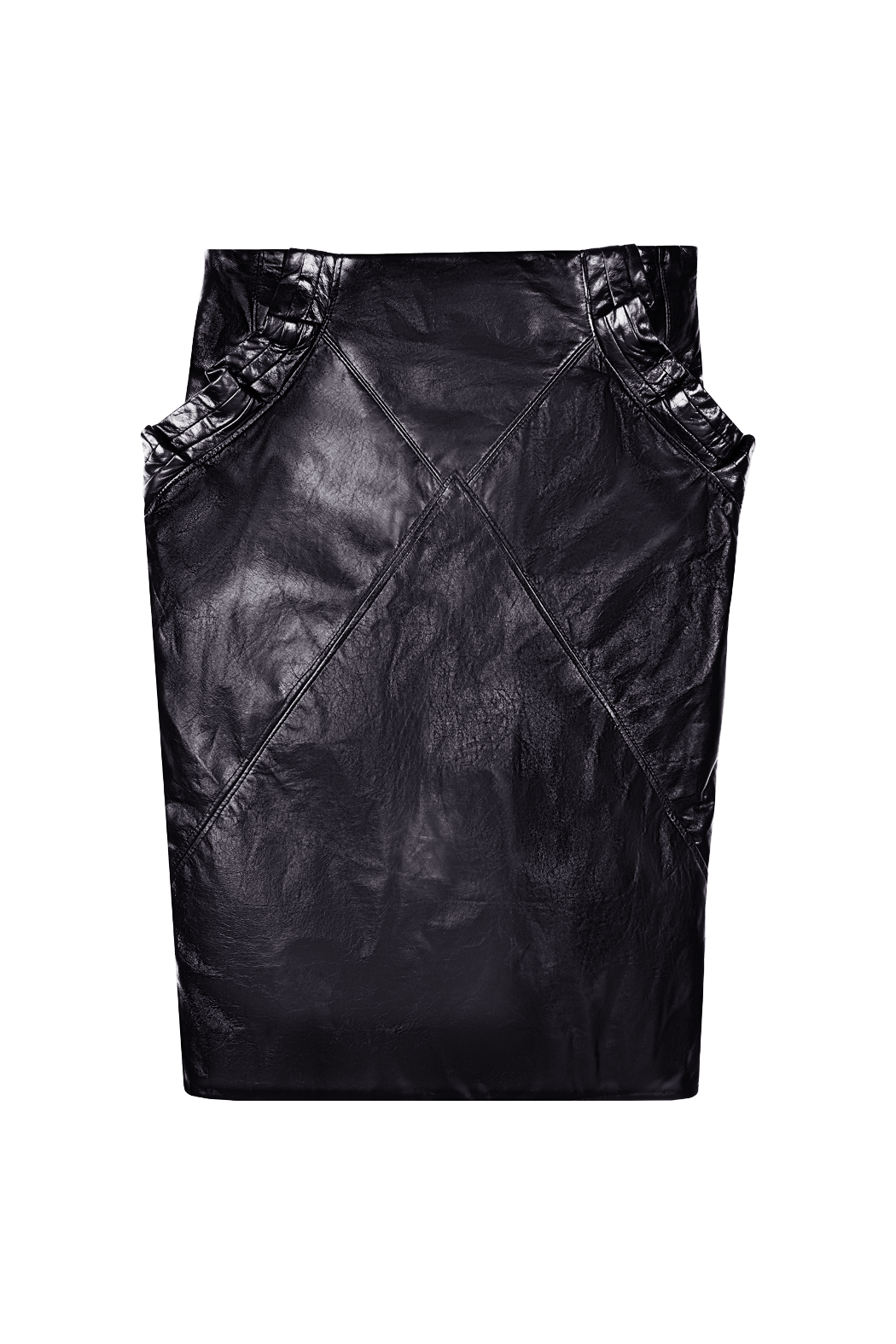 Black Leather Knee Length Skirt with Ruffles Flat