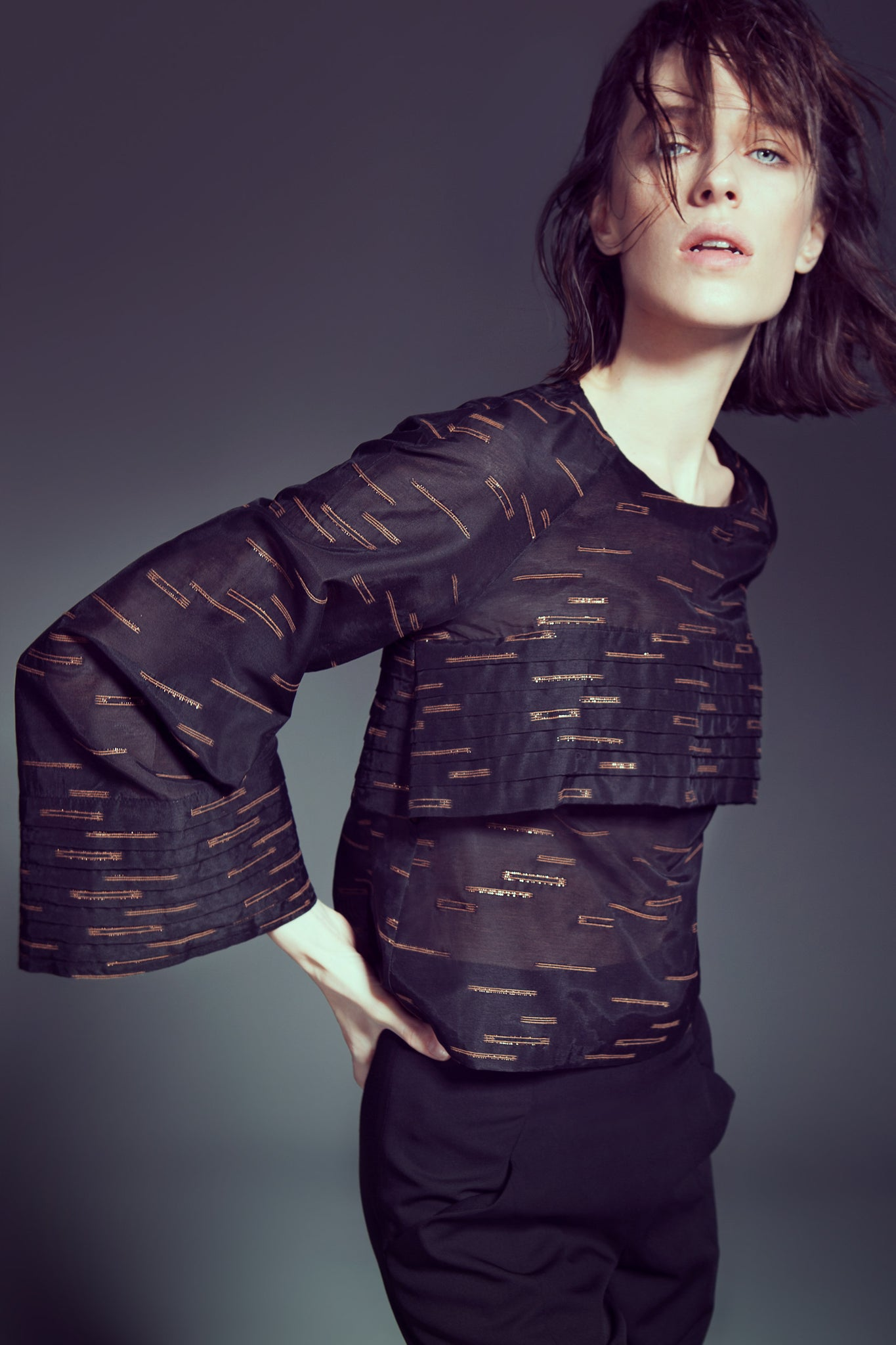 Black and Copper Pattern Pleated Top