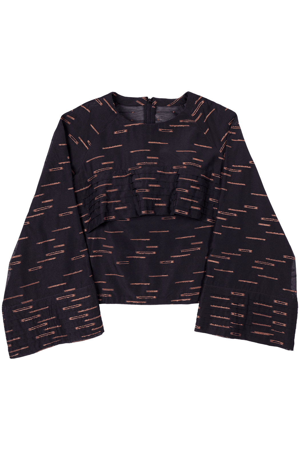 Black and Copper Pattern Pleated Top Flat