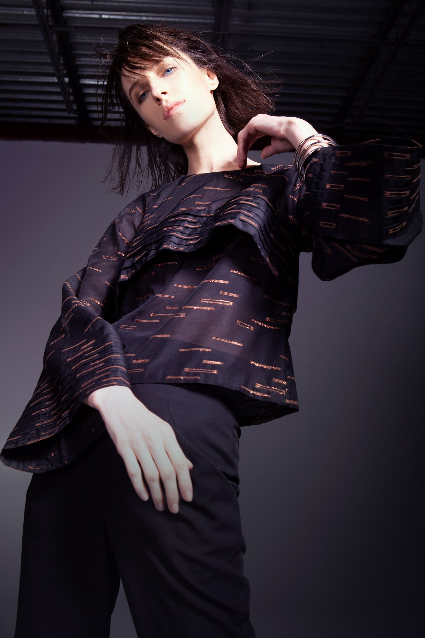 Black & Copper Pattern Semi Sheer Pleated Top