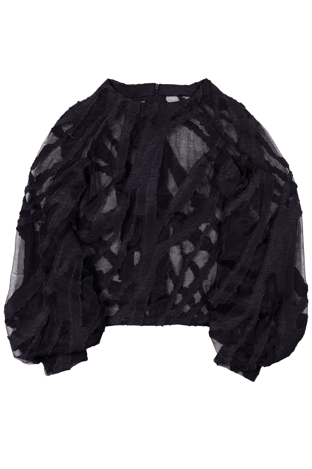 Black Graphic Semi Sheer Wave Pattern Top Flat