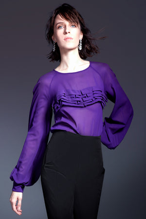 Plum Sheer Top with Wave Appliqué