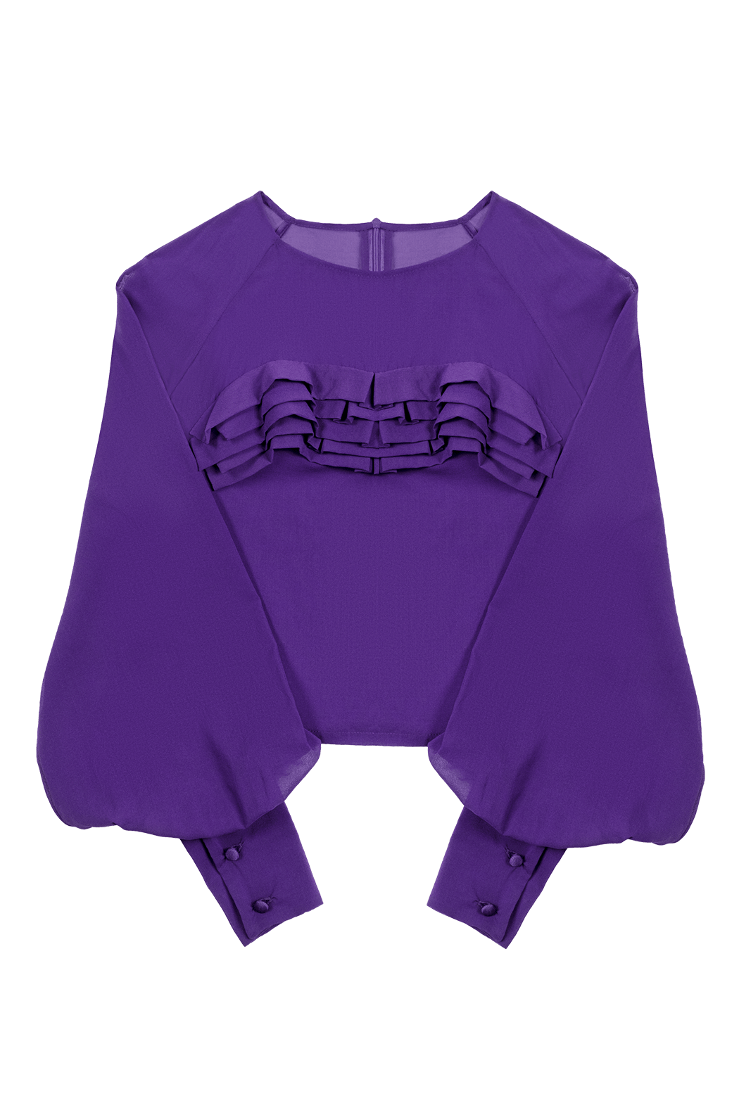 Plum Sheer Top with Wave Appliqué Flat
