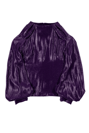 Plum Shiny Top with Pleated Shoulder Detail Flat