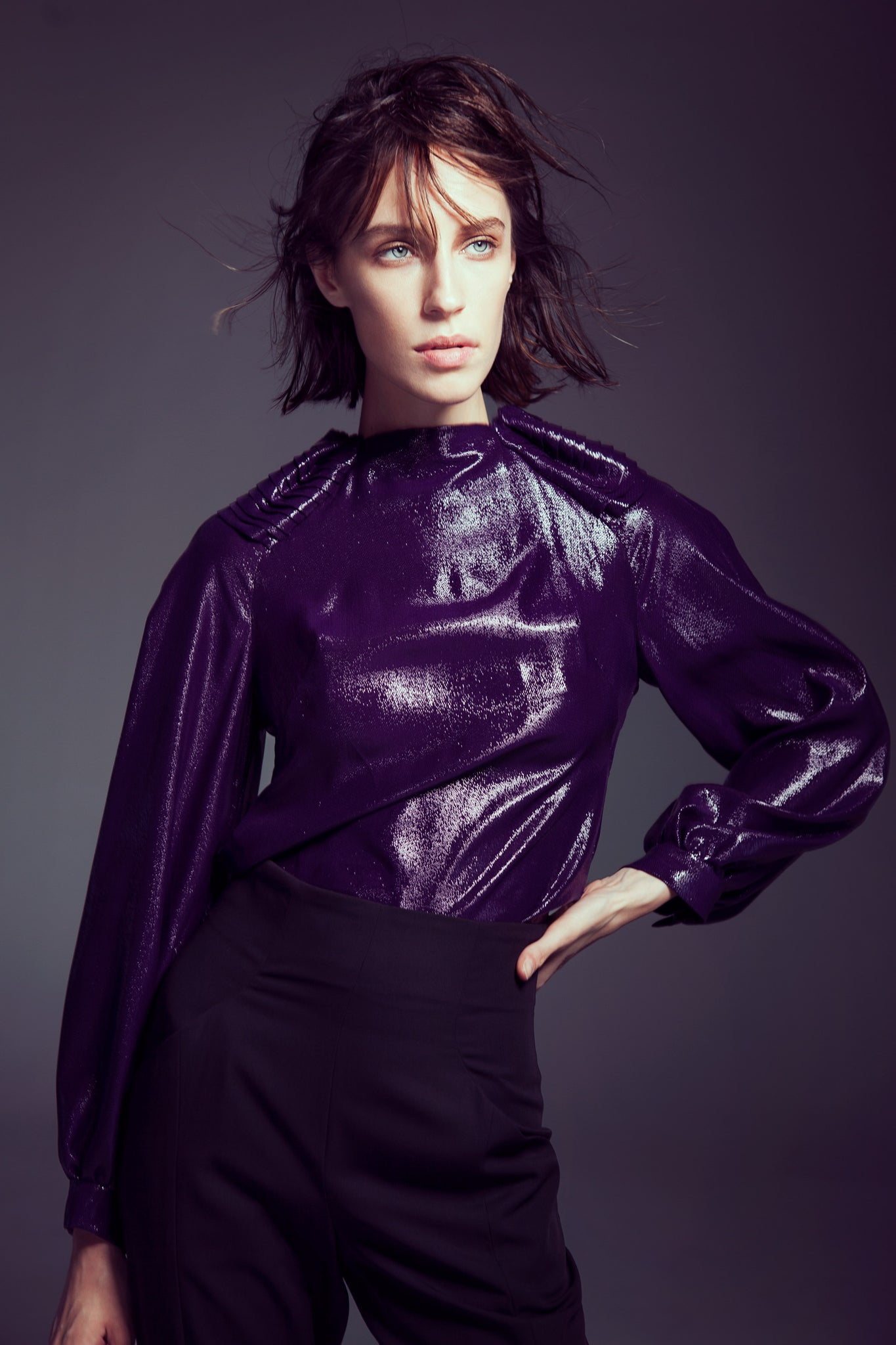 Plum Shiny Top with Pleated Shoulder Detail