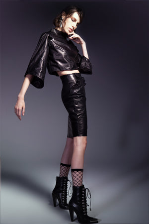 Black Leather Knee Length Skirt with Ruffles