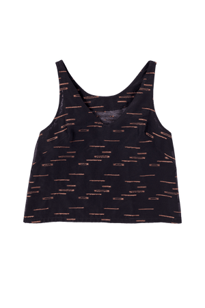 Black and Copper Pattern Tank Top Flat