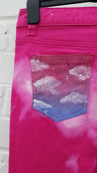Hand Painted Jeans Pink Clouds UK 8 / US 4