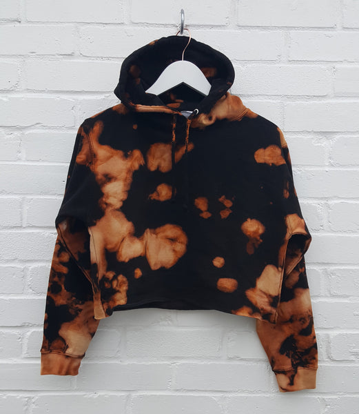 Cropped Bleached Hoodie Black Orange