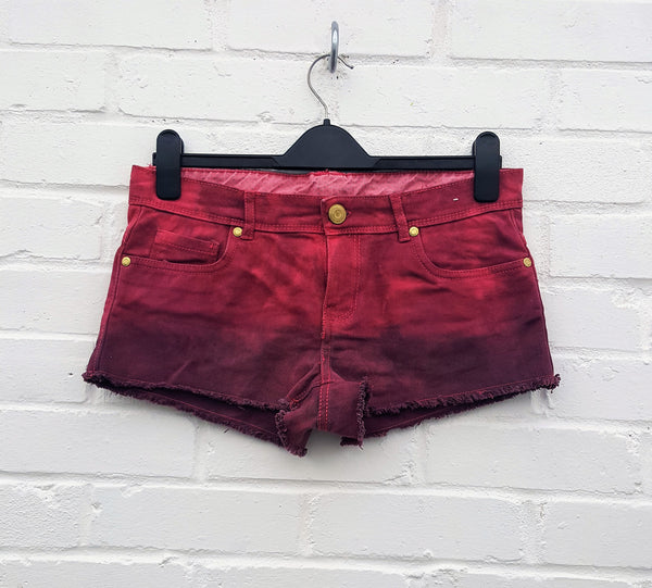 Ombre Tie Dye Denim Short to fit UK size 10 or US size 6 Burgundy