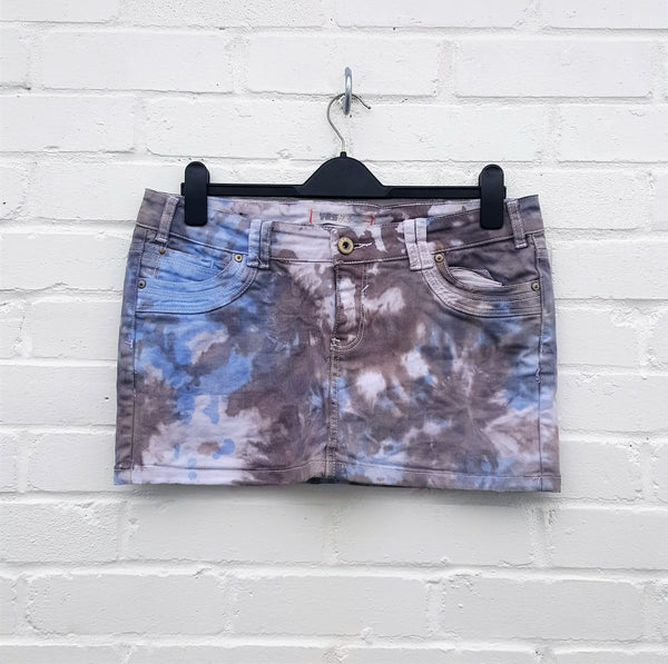 Denim Mini Skirt Upcycle UK 14 / US 10