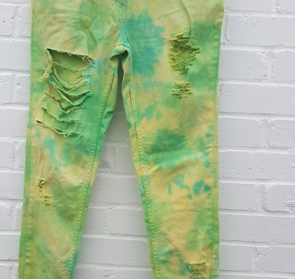 Upcycled Skinny Jeans Yellow & Green Ripped to fit UK size 8 or US size 4