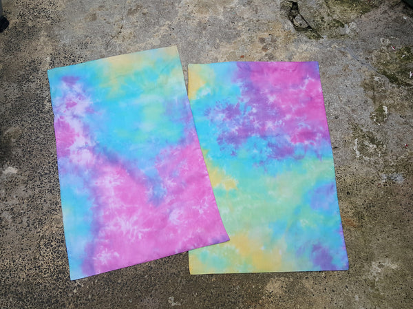 Tie Dye Pillowcases x2 Pink Yellow Blue