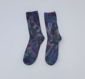 Womens Tie Dye Ankle Socks x1 Pair Purple Burgundy