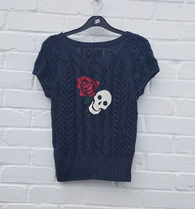 Skull & Rose Cardigan Upcycle Womens M