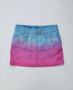 Pastel Denim Mini Skirt Upcycle UK 6 / US 2