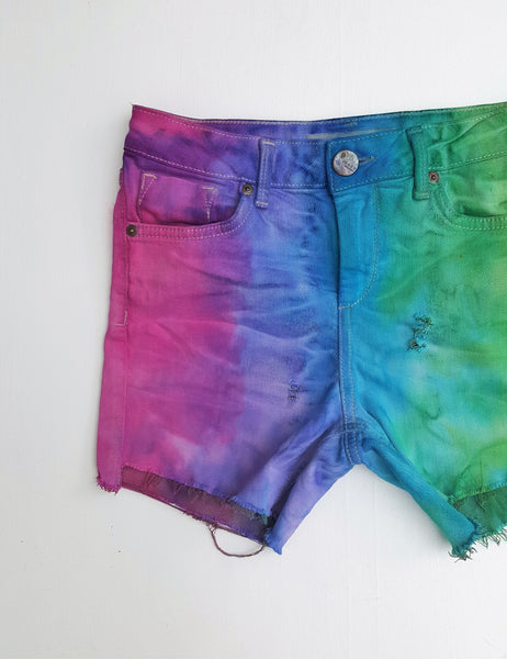 Ombre Tie Dye Denim Short UK 8 / US 4