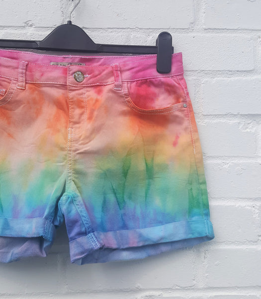 Rainbow Denim Shorts High Waist UK 12 / US 8