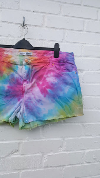 Tie Dye Rainbow Denim Short UK 18 / US 14