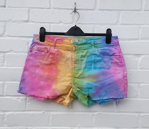 Pastel Rainbow Denim Short UK 12 / US 8