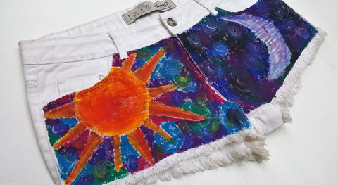 Hand Painted Sun & Moon Denim Shorts UK 8 / US 4