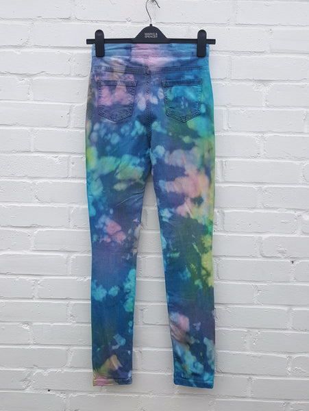 Pastel High Waist Upcycled Skinny Jeans UK 6 / US 2