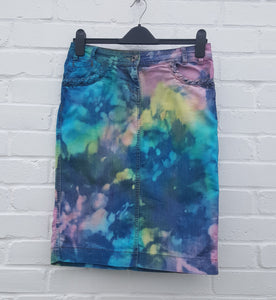 Upcycled Pastel Denim Skirt UK 8 / US 4