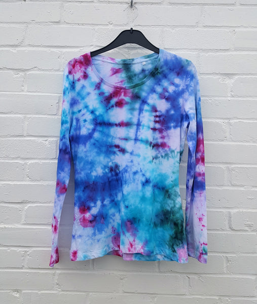 Long Sleeve Organic Cotton Ice Dye T-shirt Womens