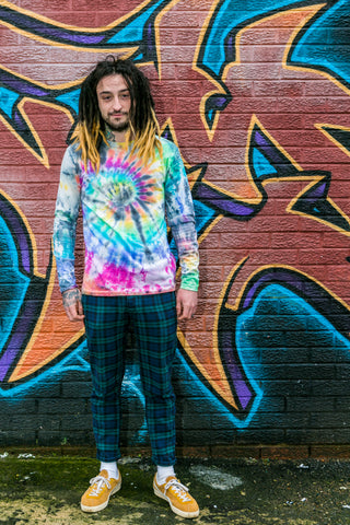 Rainbow & Black Tie Dye Long Sleeve Tee