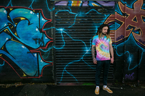 Tie Dye T-shirt Pink, Blue & Yellow Unisex V Neck