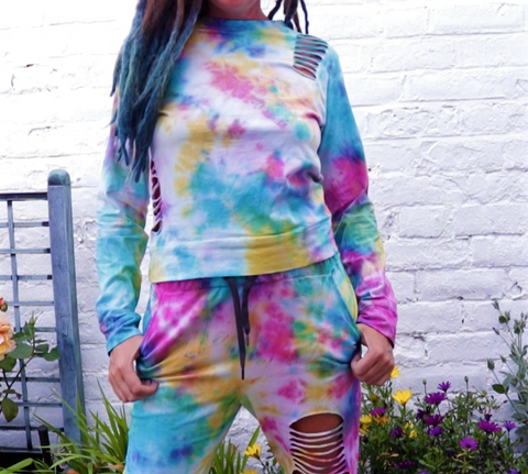 Tie Dye Lounge Set Pink Yellow Blue Ripped to fit UK size 12
