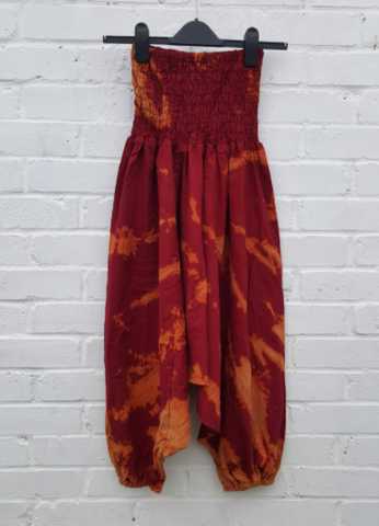 Tie Dye Harem Pants Acid Wash Burgundy & Orange size S