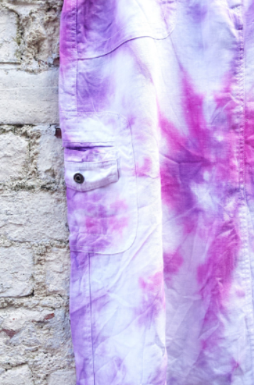 Upcycled Linen Skirt Pink Tie Dye UK 14 / US 10