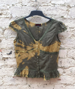 Upcycled Tie Dye Shirt Khaki Green to fit UK size 12 or US size 8