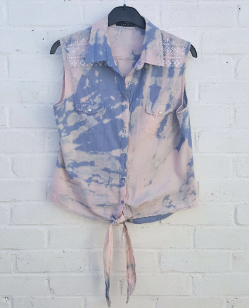 Soft Denim Upcycled Top Pastel UK 12 / US 8
