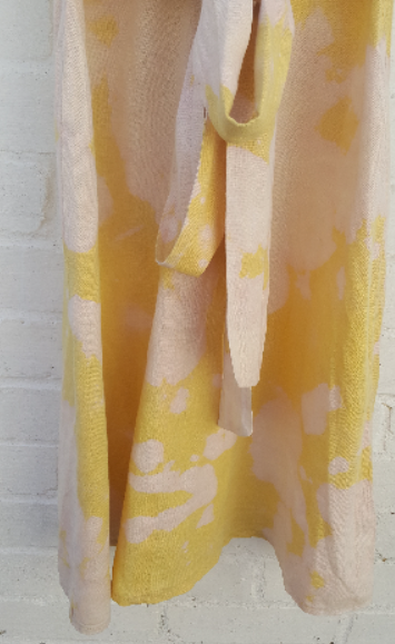 Upcycled Yellow Dress Bleach Tie Dye Linen to fit UK size 10 or US size 6