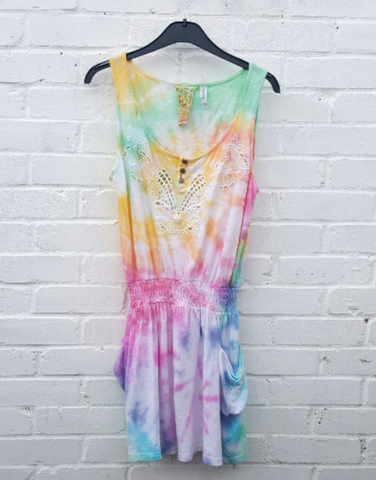 Upcycled LGBT Hippie Dress Rainbow Tie Dye to fit UK Size 12 or US size 8