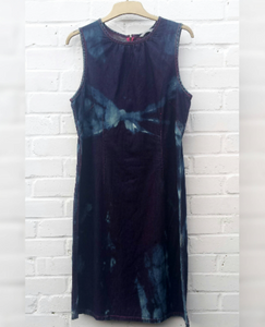 Upcycled Denim Dress Bleach Tie Dye to fit UK size 16 or US size 12