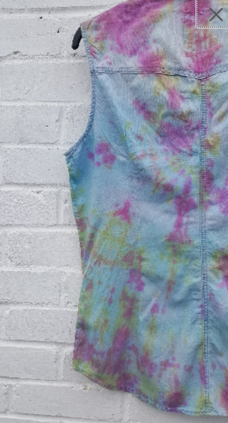 Upcycled Tie Dye Denim Tank Top to fit UK size 12 US size 8