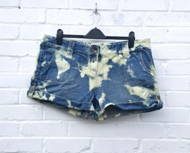 Upcycled Denim Bleach Tie Dye Short to fit UK size 18 or US size 14