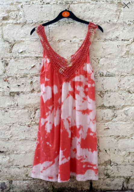 Upcycled Boho Dress Tie Dye Coral & White to fit UK Size 8 or US size 4