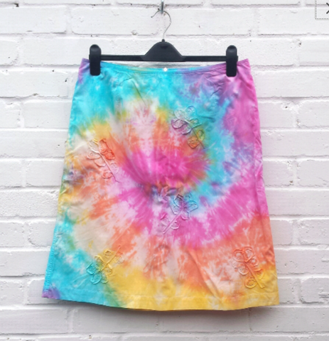 Rainbow Tie Dye Upcycle Skirt with Flowers to fit UK Size 14 or US size 10